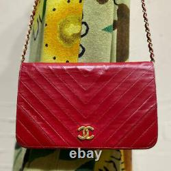 Auth Vintage Chanel Sac À Main Red Leather Matelasse Chevron Shoulder Chain Or