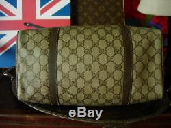 Auth Vintage Gucci Gg Brown Speedy Avec Sac Fourre-tout Vert Web Rouge Sac À Main Gg