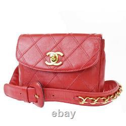 Authentic Chanel CC Bum Chaîne Ceinture En Cuir 80/32 Rouge Italie Vintage 44lb373