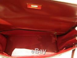 Authentic Vintage Hermes 35 De 1988 En Rouge Et Toile H