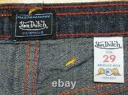 Authentic Vintage Von Dutch Womens Red Graphic Kick Low Rise Flare Jeans Sz 29