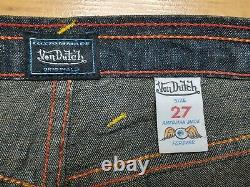 Authentic Vintage Von Dutch Womens Red Graphic Paint Low Rise Flare Jeans Sz 27