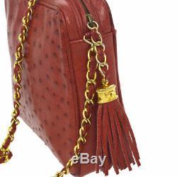 Authentique Chanel CC Fringe Chaîne Sac À Bandoulière Rouge Autruche Peau Ghw Vtg Jt07348