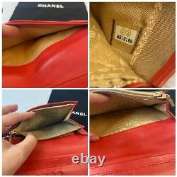 Authentique Chanel CC Icon Red Leather Bifold Walletus Seller