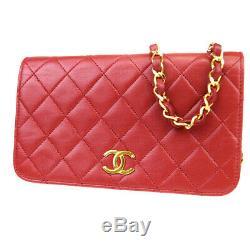 Authentique Chanel CC Logo Mini Chaîne Sac À Bandoulière En Cuir Rouge Vintage 663la420