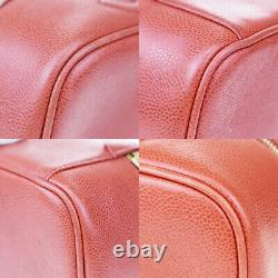 Authentique Chanel CC Logo Vanity Hand Bag Caviar Leather Red Vintage 77md239