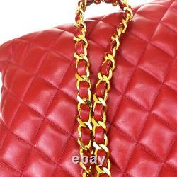 Authentique Chanel CC Quilted Chain Shoulder Bag Leather Red Italy Vintage 28la849