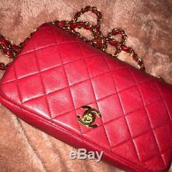 Authentique Chanel Ghw Rouge Matelassée Vintage Mini Lambskin Sac À Bandoulière Petit Rouge