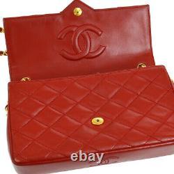 Authentique Chanel Matelassé CC Single Chain Sac À Bandoulière Cuir Rouge Vintage A39438