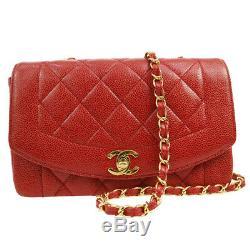 Authentique Chanel Matelassée Chaîne Sac À Bandoulière Rouge Caviar Peau Vintage Ghw A41169j