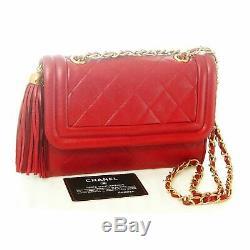 Authentique Chanel Rouge Matelassée Vintage Tassel Caméra Lambskin Sac Bandoulière