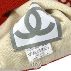 Authentique Chanel Sports Line CC Knitted Hat Red White Wool Vintage Gs01287c