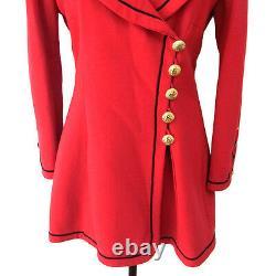 Authentique Chanel Vintage CC Logos Bouton Veste À Manches Longues Rouge Y02153b