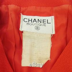 Authentique Chanel Vintage CC Logos Bouton Veste À Manches Longues Rouge Y02323e
