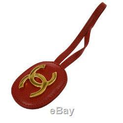 Authentique Chanel Vintage CC Logos Dragonne Clé Padlock Set Rouge Ak33256j