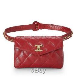 Authentique Chanel Vintage Sac De Taille Matelassée En Peau D'agneau Rouge