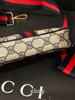Authentique Gucci Gg Canvas Vintage Pochette Bandoulière / Sac De Taille Bleu Rouge Web