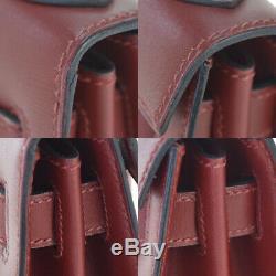 Authentique Hermes Kelly 28 Sac À Main En Cuir Veau Rouge Boîte X Vintage 892r216