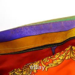 Authentique Versace Vintage Manches Longues Tops Manches Tops Soie Orange # 38 Ak31946