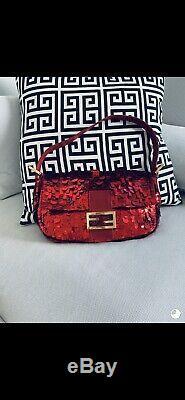 Authentique Vintage Fendi Red Sequin Sac Baguette Excellent Etat