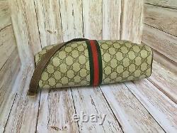 Authentique Vintage Gucci Toile De Monogramme Rouge Et Vert À Rayures Sac À Bandoulière