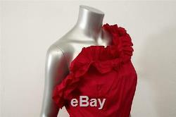 Balenciagavintagered Rosette Ruffle Bal En Tulle D'une Épaule Robe Longue Xs