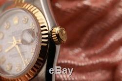 Blanc Rolex Logo 26mm Datejust En Or 18 Carats Et Diamants Ss Cannelée Jubilee Ladies Watch