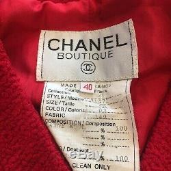 Bouton Authentique Chanel Vintage CC Logos Laine Violet Veste 40 Boucle