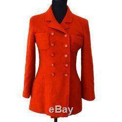 Bouton Chanel Vintage CC Logos Manteau Veste À Manches Longues Rouge # 36 Ak36808f