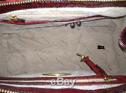 Brahmane Courtney Satchel Ruby Tri Texture Red Brown Sac À Main Croc Écarlate