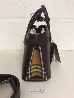 Burberry Small Banner Acajou Rouge Cuir Et Vintage Check Bag £1295
