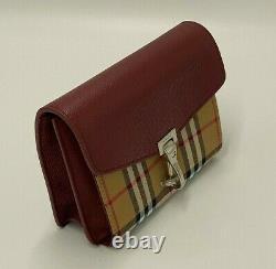 Burberry Vintage Check And Leather Crossbody Bag Rouge, Nouveau, Authentique