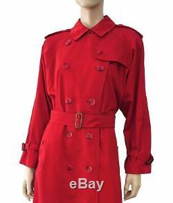 Burberry Vintage Red Gabardine De Coton Trench Avec Nova Check Doublure 12 Long