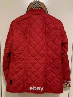 Burberry Women Frankby 18 Vintage Check Quilted Jacket Coat Red Size Medium Nwt