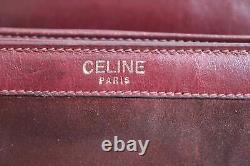 Celine Nubuck Boîte En Cuir Sac Burgandy Vintage
