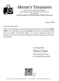 Certifié Auth. Louis Vuitton Epi Rouge Porte-monnaie En Cuir Nous Vendeur