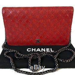 Certified Auth. Chanel Rouge Matelassée Longue Walletus Vendeur