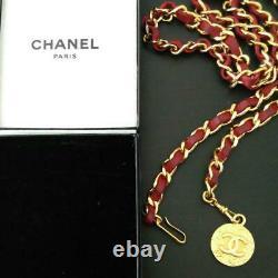 Chaîne Chanel Ceinture Auth Coco Mark Logo En Cuir Rouge D'or L 98cm Rare Vintage F / S