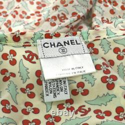 Chanel CC Floral Sleeveless Tops Ivoire Rouge #40 Vintage Ak37992c