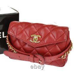 Chanel CC Logo Bum Sac Taille Pouch Chaîne Ceinture En Cuir 75/30 Rouge Vintage 53je027
