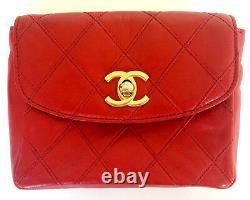 Chanel CC Logo Ceinture En Cuir Rouge Taille Bum Sac Purse Sac À Main Convient 30 27