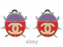 Chanel CC Logos Boucles D'oreilles Dangle Ladybug 04p Violet Rouge Argent Vintage Ex++