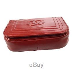 Chanel CC Logos Monocatenaires Sac À Bandoulière En Cuir Rouge Vintage 0666124 Rk13510d