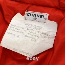Chanel CC Logos Veste Manteau À Manches Longues Red Silk Vintage #44 Ak31916e