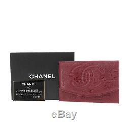 Chanel CC Logos Wallet Bordeaux Caviar Peau Cuir Italie Vintage Auth # Kk878 O