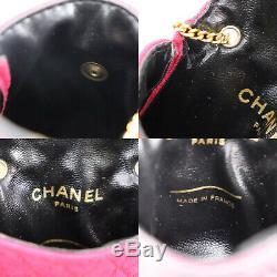 Chanel CC Matelassée Chaîne Mini Pouch Rouge Rose France Vintage Authentique # U909 W