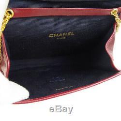 Chanel CC Matelassée Double Chaîne Sac À Bandoulière En Cuir Bourse Bordeaux Vtg Ak38337h