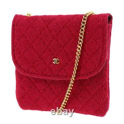 Chanel CC Quilted Chain Mini Pouch Red Pink France Vintage Authentic #ab579 O