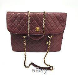 Chanel CC Vintage Bordeaux Rouge Sac Double Chaîne Épaule Porte-documents Classique Fourre-tout