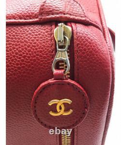 Chanel Caviar Skin Vanity Bag Rouge 90's Vintage
